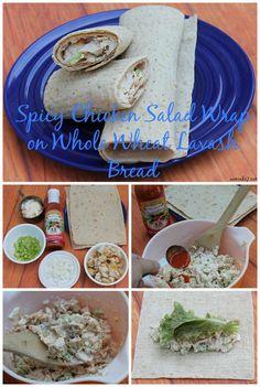 Spicy Chicken Salad Wrap on Whole Wheat Lavash Bread Recipe #leanmeanveggiemachine #sp