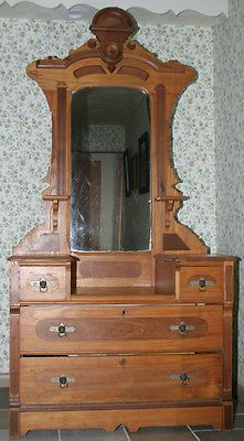 Victorian Eastlake 1800 S Antique Dresser Or Chest With Mirror