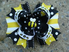 Bumble+Bee+Hair+Bow+Large+Hair+Bow+boutique+Hair+by+MyLuckyHairBow,+$8.75