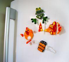 Fused glass fridge magnets by Julia Rezinsky, via Behance