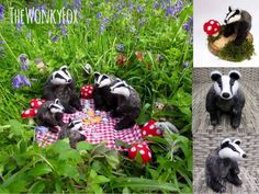 The Wonky Fox Badger's Picnic by The Wonky Fox Needle felted badgers! Two options: ~Smaller badger on a wood slice with dried moss and felted. Wood Slices, Badger, Picnics, 6 Inches, Needle Felting, Garden Sculpture, Sunshine, Fox, Scene