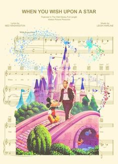 Disney Castle Walt and Mickey When You Wish Upon A Star Sheet Music Art Print Disney Songs, Disney Art, Walt Disney, Disney Music, Disney Names, Disney Quotes, Music Pictures, Pictures Images, Mary Poppins