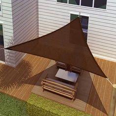New ProSource Sand Color Oversized Sun Shade Sail Shade canopy Sun Shelter Triangle Shade Sail, Sun Sail Shade, Shade Sails, Outdoor Shade, Pergola Shade, Backyard Shade, Patio Shade, Shade Garden, Sun Sails