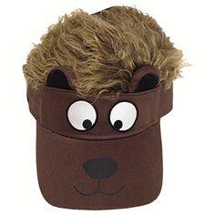 9b97b03dbdbc2 Flair Hair Kid s Cotton Adjustable Visor With Hair Hat Cap (Otter w  Brown  Hair)
