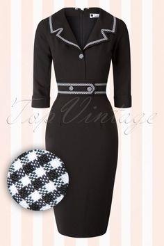 Daisy Dapper Black Pencil Dress Chapped detail 100 10 16035 20150902 005W2