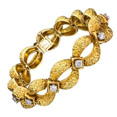 VAN CLEEF & ARPELS Rare Diamond Yellow Gold Platinum Bracelet,  France, c. 1960s.