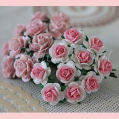 20 Mixed Size of Handmade Mini Mulberry Paper Flowers Pale Pink and White