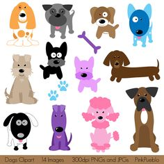 Dogs Clipart Clip Art, Puppy Clipart Clip Art - Commercial and Personal Use. $6.00, via Etsy.