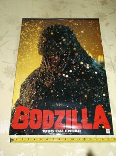 """GODZILLA 1995 CALENDAR ROLLED & UNUSED! 23"""" x 17"""" BEAUTIFUL COMPLETE COLLECTIBLE"""