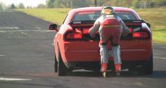 OMG!!!  125 mph on roller skates behind a Dodge Challenger SRT8 !  Skating at 200km/h (125 mph) ...