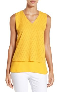 Chaus Tiered V-Neck Sleeveless Blouse