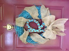 Spray painted grapevine wreath with burlap and my initial ...