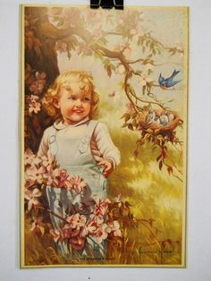 """Adelaide Hiebel """"The Bluebird's Guest"""" Lithograph 1980's Print Uncirculated Copy on eBay!"""