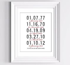 Love this idea  The dates our lives were forever changed - Click image to find more DIY & Crafts Pinterest pins