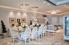 Construindo Minha Casa Clean: 65 Salas de Jantar e Estar Integradas! Veja Dicas e Qual Iluminação Usar!