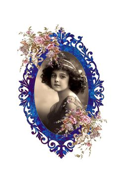 Beauty girl on blue frame for prints
