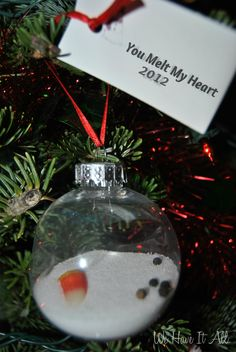 Homemade Melted Snowman Ornament: Gift from Child. Add a little heart in there and I think you've got it!