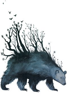 {<3} bear is the forest - A3 art print