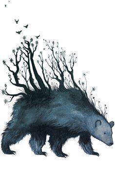 bear is the forest  A3 art print by jennisaarenkyla on Etsy, $30.00