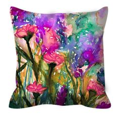 FLORAL INSURGENCE 3 Pink Purple Green Flowers Rainbow Watercolor Art Decorative Throw Pillow Cover by EbiEmporium, #floral #flowers #rainbow #garden #pretty #girly #homedecor #decoration #colorful #girly #suede #suedepillow #pillowcover #throwpillow #bedroom #bedding #decorative #designer #ebiemporium