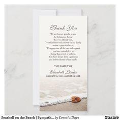 Seashell on the Beach | Sympathy Thank You | Zazzle.com