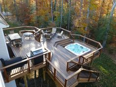 Contemporary room with Sunken hot tub, Ridgeview 5-Piece Patio Seating Set with Blue Cushions, Outdoor dining area