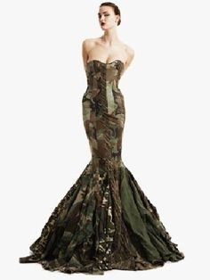 Customized camo evening dress by Gary Harvey.