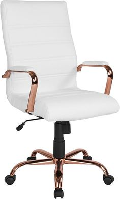online shopping for Emma + Oliver High Back White Leather Executive Swivel Office Chair - Rose Gold Frame from top store. See new offer for Emma + Oliver High Back White Leather Executive Swivel Office Chair - Rose Gold Frame High Back Office Chair, Best Office Chair, Swivel Office Chair, Ergonomic Office Chair, High Back Chairs, Home Office Chairs, Home Office Decor, Office Furniture, Executive Office Chairs