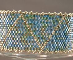 Beadwoven Bracelet of Silverlined Blue Green Mix by mostlybeads, $55.00