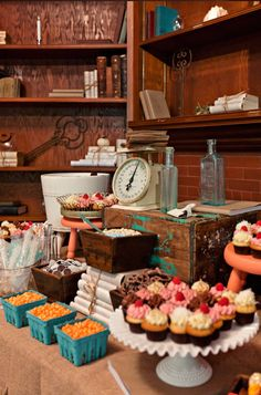 sweet dessert table. Wish I could find out if one of those bottles is a dr jayne's bottle and buy it from them!