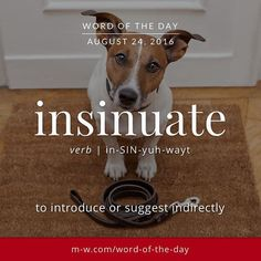 Insinuate: to introduce or suggest indirectly Unusual Words, Weird Words, Rare Words, Unique Words, New Words, Cool Words, Foreign Words, English Vocabulary Words, Learn English Words