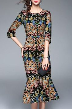 AdoreWe - Dezzal Print Fishtail Dress - AdoreWe.com