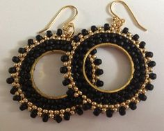 Small Hoop Earrings - Black and Gold Beaded Hoops - Handmade Jewelry