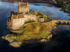 Fantastic Ariel photo of Eilean Donan Castle, Kyle of Lochalsh, Highlands Scotland. See other pins. Castles In Ireland, Scotland Castles, Scottish Castles, Castle Ruins, Medieval Castle, Scotland Travel, Highlands Scotland, Eilean Donan, Fantasy Castle
