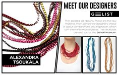 Pleated silk ribbons' necklaces, in many color combinations, by Alexandra Tsoukala! Where there is love and inspiration, every piece is unique and every design is unmatched! Silk Ribbon, Ribbons, Color Combinations, Designers, Meet, Necklaces, Clothes For Women, Unique, Inspiration