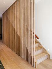Slatted Wood Wood Slats Patio Design Modern Home Toronto Stairs Design Design Ho Modern Staircase design Home modern Patio Slats Slatted Stairs Toronto Wood Stair Walls, Wood Stairs, Basement Stairs, Open Basement, Wood Railing, Wood Columns, Basement Ideas, Home Stairs Design, Interior Stairs