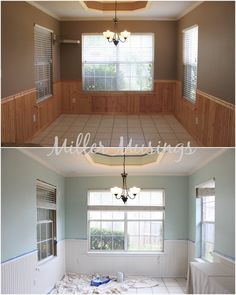 Before and After Kitchen Breakfast Area with Benjamin Moore Palladian Blue and White Dove