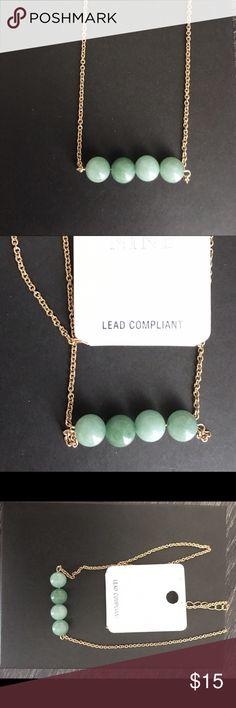"""Semi-precious Fashion necklace Cute quad semi-precious mint color stones . Gold tone chain size : L 18""""x3"""" ext Jewelry Necklaces"""