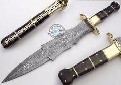"17.25"" Custom Hand Made Beautiful Damascus steel Dagger Knife (AA-0039-1) #UltimateWarrior"