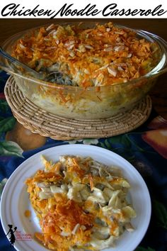 Chicken noodle casserole is great for using up leftover chicken, turkey or even ham. Makes a meal in one dish for family and friends. Chicken Noodle Casserole, Casserole Dishes, Casserole Recipes, Chicken Pasta, Casserole Ideas, Freezer Chicken, Chicken Feed, Chicken Meals, Garlic Chicken