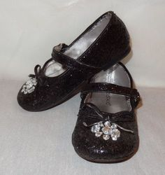 Black-Girls-Sparkly-Flat-Dress-Shoes-Size-Toddler-8M-Okie-Dokie-2013-Sequined