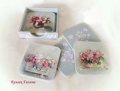 Новости Stencil, Decoupage Box, Glass Coasters, Painting On Wood, Decorative Boxes, Creations, Elsa, Handmade, Crafts