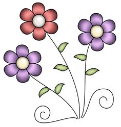 """Photo from album """"Spring Hop"""" on Yandex. Vector Flowers, Flower Clipart, Art Clipart, Paper Flowers Craft, Flower Crafts, Flower Art, Bead Embroidery Patterns, Embroidery Art, Flower Images"""