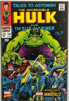 Marvel HULK #101 Sub-Mariner Retro Wood Comic Cover Plaque Wall Art #weboys10