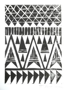 Black and White Tribal Triangles Block Print by Toni Point, via Behance
