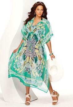 Plus Size Floral Caftan Maxi Cover Up | Plus Size Swim Clearance | Avenue