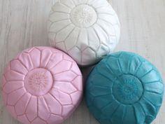 moroccan pouf pastel leather. dar amïna shop