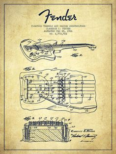 Fender Poster featuring the drawing Fender Floating Tremolo Patent Drawing From…