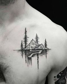 Mountain tattoo on the chest - Styleoholic