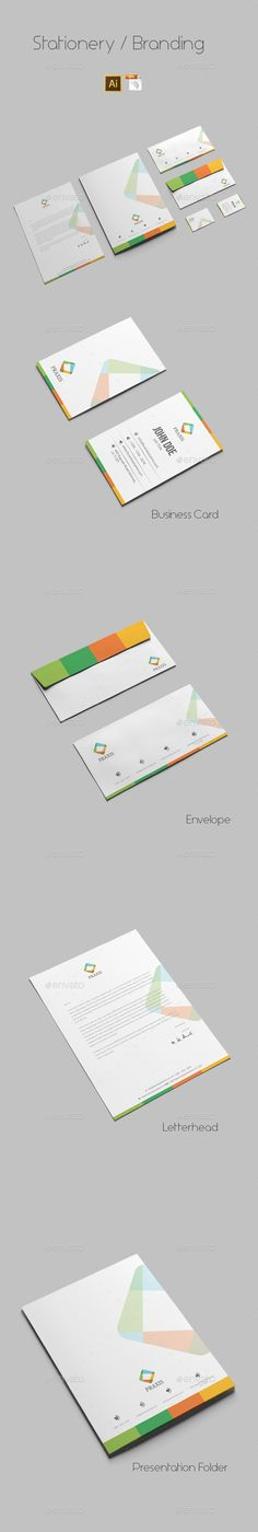 Buy Branding Stationery by azadcsstune on GraphicRiver. File Includes Letterhead and Letter size Business Card Envelope Presentation Folder Editable Illustrator files (ai. Corporate Stationary, Corporate Identity, Stationery Printing, Stationery Design, Letterhead Design, Branding Design, Print Templates, Design Templates, Presentation Folder